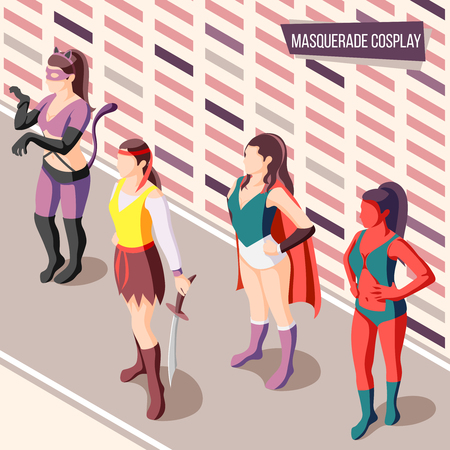 Masquerade isometric background with women wearing creative costumes 3d vector illustration