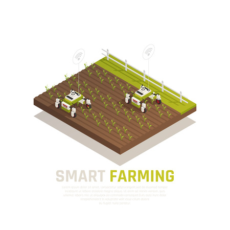 Smart agriculture concept with agriculture machines and harvest  isometric vector illustration Illustration