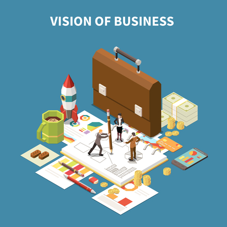 Isometric business strategy composition with vision of business description and abstract elements vector illustration Illustration
