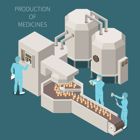 Composizione colorata isometrica di produzione farmaceutica con produzione di descrizioni di farmaci e processo di lavoro nell'illustrazione vettoriale di laboratorio Vettoriali