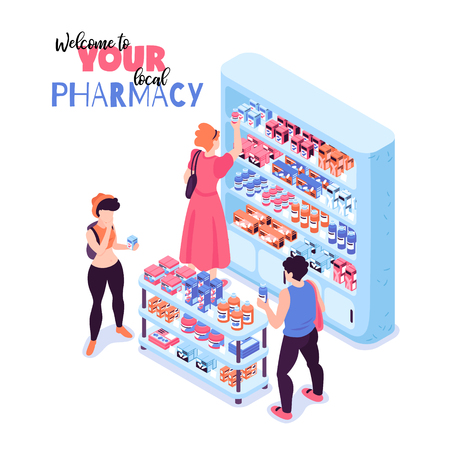 Customers buying medicine in pharmacy 3d isometric vector illustration