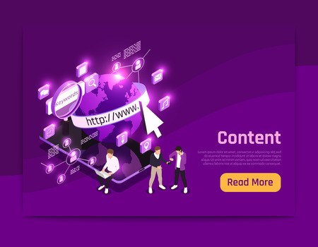 Web content isometric page with world data symbols vector illustration Иллюстрация