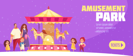 Amusement park horizontal banner in cartoon style with button to buy electronic tickets vector illustration
