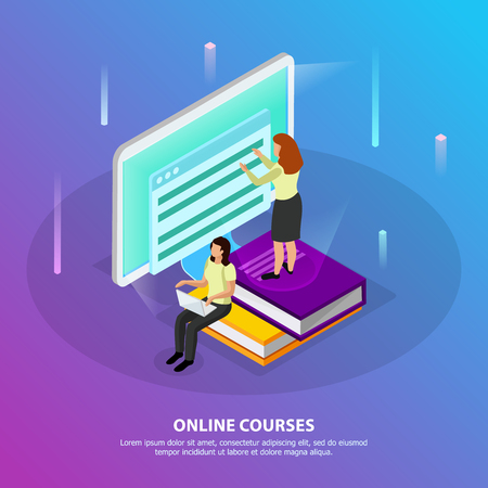 Online courses isometric background with two woman studying distantly using desktop pc vector illustration