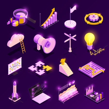 Business strategy isometric icons set with success symbols isolated vector illustration