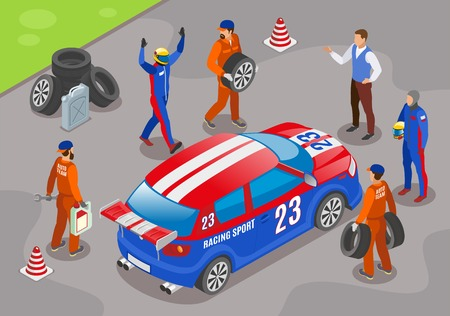 Racing sports background with winner racing team symbols isometric  vector illustration