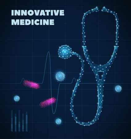 Innovative medicine poster with healthcare industry symbols realistic vector illustration Ilustração