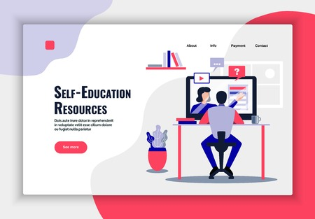 Online education page design with learning resources symbols flat vector illustration  イラスト・ベクター素材
