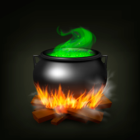 Witch pot on fire wood with green potion and steam on black background realistic vector illustration