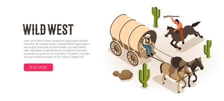 Cowboy en wagon et amérindien à cheval avec fusil bannière horizontale isométrique fond blanc illustration vectorielle