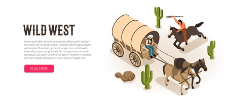 Cowboy in wagon and american indian on horseback with rifle isometric horizontal banner white background vector illustration