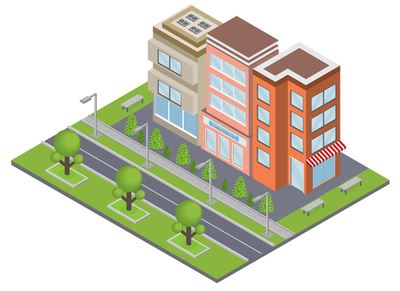 Suburbia buildings concept with real estate and ownership symbols isometric vector illustration