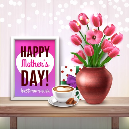 Mothers Day colored composition with bouquet of tulips gift cup of coffee and best mom ever compliments vector illustration