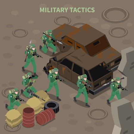 Military tactics isometric composition with armed infantry group going on attack with machine guns vector illustration Illustration