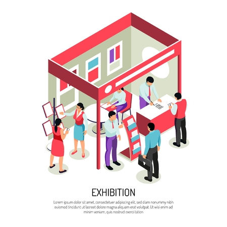 Isometric expo background composition with editable text and view of exhibition display with info stands racks vector illustration