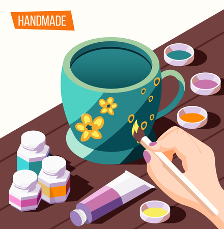 Hobby crafts isometric background with woman painting cup 3d vector illustration Illustration