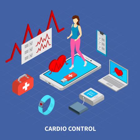 Mobile medicine composition with cardio control  symbols isometric vector illustration Illustration