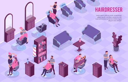 Big barbershop room interior and stylists at work 3d horizontal isometric vector illustration