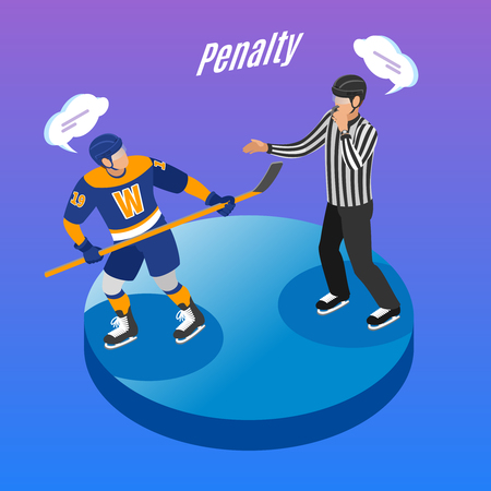 Ice hockey round isometric degrade background composition with referee sending offending player in penalty box vector illustration