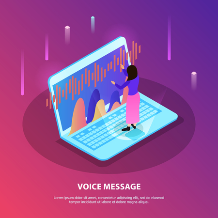 Voice message flat composition with woman standing on  keyboard of laptop with voice recognition app vector illustration Illustration