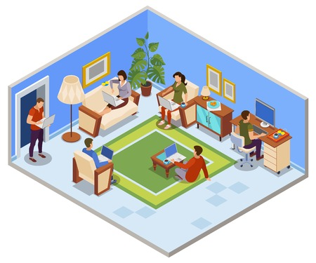 Typical freelance day isometric composition with people sharing working space in apartment cozy living room  vector illustration Illustration