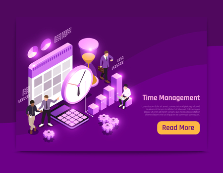 Business isometric page design with time management symbols vector illustration