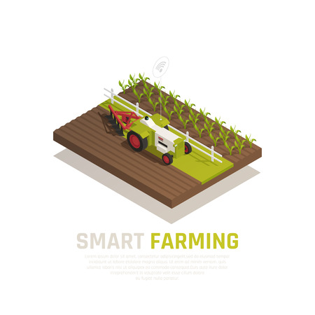 Smart farming composition with agriculture and harvest symbols isometric vector illustration
