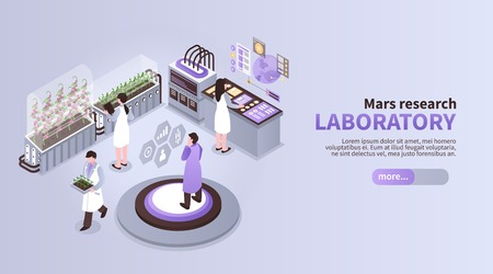 Isometric mars colonization color background with text learn more button and people in futuristic laboratory environment vector illustration