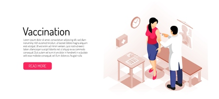Doctor and woman during vaccination  isometric horizontal banner on light background vector illustration
