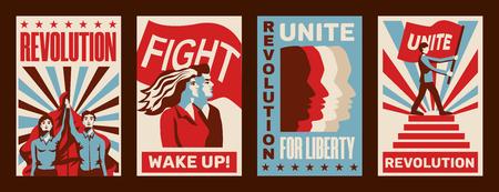 Révolution 4 promouvant des affiches constructivistes avec des appels à la grève lutte unité liberté vintage isolé illustration vectorielle