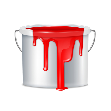 Realistic paint bucket composition metallic with white plastic bucket lid and red paint vector illustration