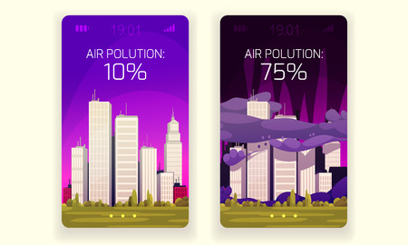 Ecology design concept with clean city and air pollution compositions on smartphone screens  vector illustration  イラスト・ベクター素材