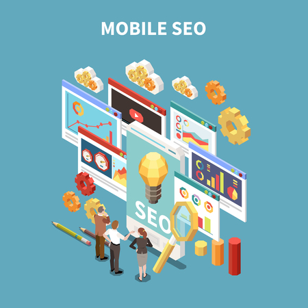 Web SEO isometric and colored composition with mobile seo description and business meeting or brainstorming situation vector illustration