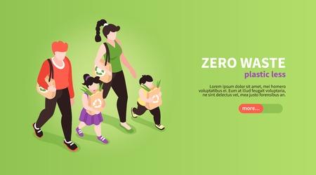 Fondo de banner de desperdicio cero isométrico con texto editable de botón deslizante y caracteres humanos de miembros de la familia ilustración vectorial