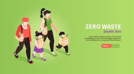 Isometric zero waste banner background with slider button editable text and human characters of family members vector illustration