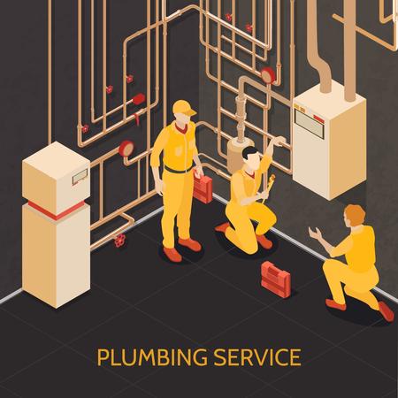 Sanitär-Service-Team bei der Arbeit isometrische Zusammensetzung mit Kellerkessel-Heizungssystem Wartungsinstallation Reparatur Vektor-Illustration