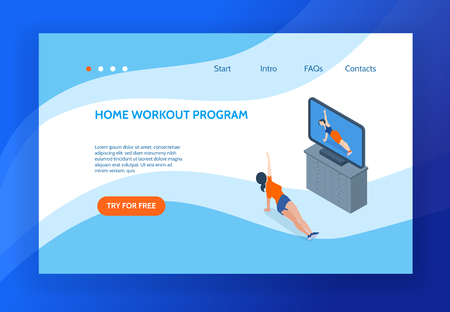 Aerobics concept banner with woman doing workout at home in front of television set 3d isometric vector illustration
