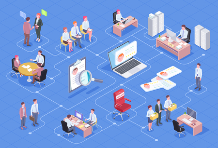 Recruitment isometric flowchart composition with isolated icons thought bubble pictograms and human characters of job candidates vector illustration
