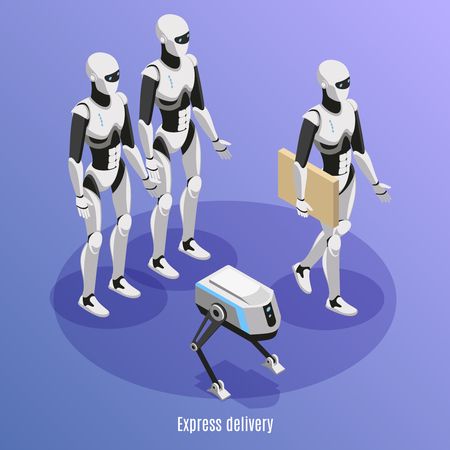 Express delivery isometric background with different kinds of post robots performing functions of parcels carry vector illustration