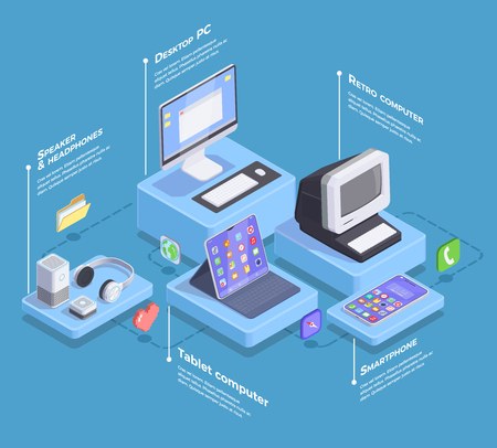 Modern devices isometric composition with infographic text captions and images of smartphone computers and electronic accessories vector illustration Illustration