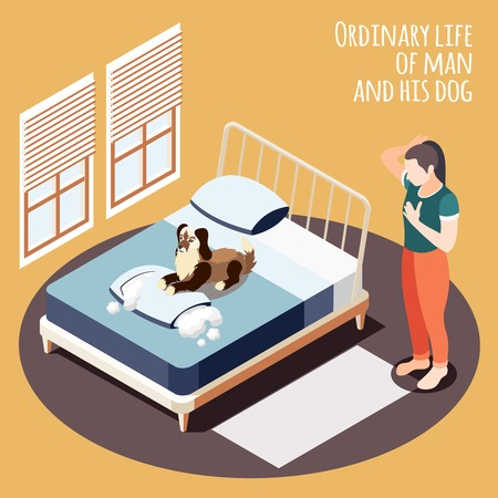 Isometric ordinary life background with life of man and his dog and his girlfriend caught the dog for dirty tricks vector Illustration
