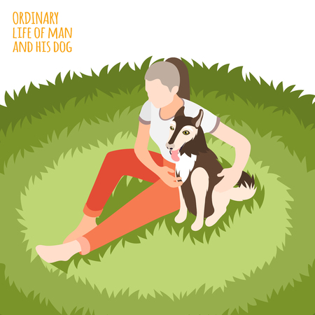 Ordinary life of man and his dog isometric background dog with girl sit on the grass vector illustration