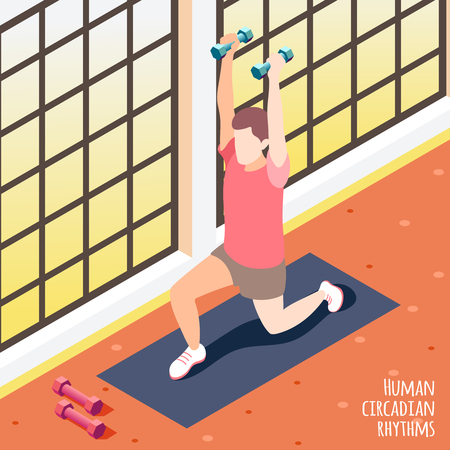 Colored isometric human circadian rhythms background man at the gym on workout vector illustration Illustration