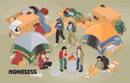 Isometric homeless composition with editable text and view of refugee camp with tents and human characters vector illustration Illustration