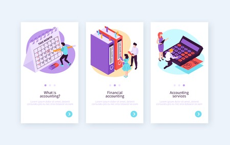 Set of three isometric accounting vertical banners with editable text clickable button and switchable conceptual images vector illustration