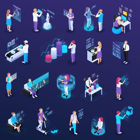 Virtuelle Augmented Reality 360-Grad-isometrische Symbole aus isolierten menschlichen Charakteren mit tragbarer elektronischer Zubehörvektorillustration Vektorgrafik