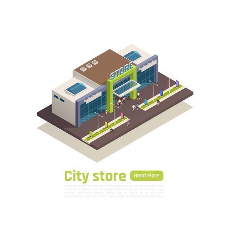 Store mall shopping center isometric composition with city store headline and green read more button vector illustration Illustration