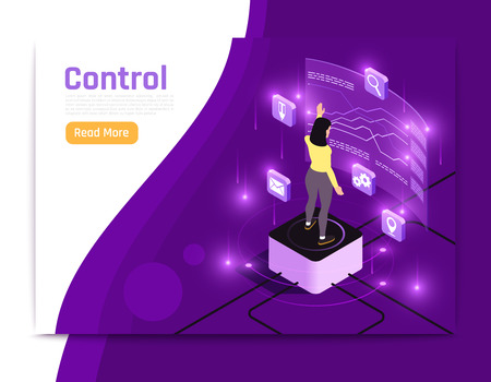 Glow isometric people and interfaces banner with control description and read more button vector illustration Illustration
