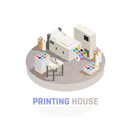 Colored and isolated printing house polygraphy isometric composition with monochrome color printing room vector illustration Çizim
