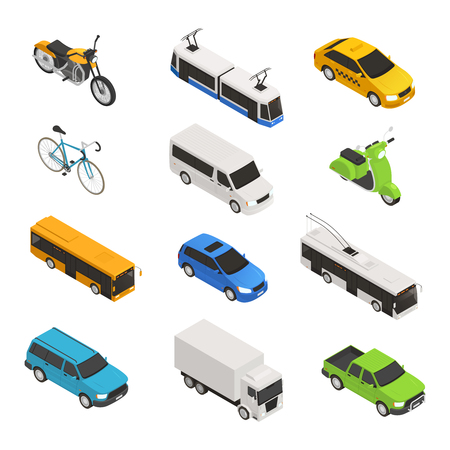 City transport isometric icon set with different isolated taxi bus bike motorcycle trolley bus pickup vector illustration Ilustração Vetorial